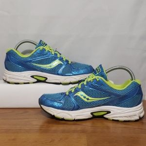Saucony Grid Cohesion Running Shoe Blue/Lime Green